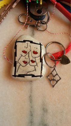 4 Kisses Fridge Magnet, Original Pebble Art, Handmade Jewelry, Boyfriend Girlfriend Gift, Painted Rocks, Personalised Keyring, Stone Ring