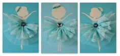 Set of three turquoise handmade canvases with Dancing Ballerinas in tutus. Each canvas is 8 X 10. The background and ballerinas are painted with