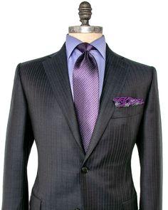 Belvest Charcoal Pin Stripe Suit
