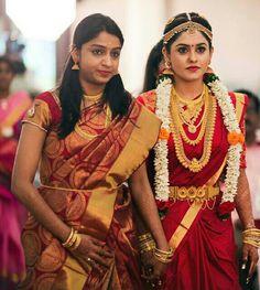 Wedding Sari, Desi Wedding, Wedding Attire, Wedding Bride, Tamil Wedding, South Indian Bride, Indian Bridal, Kerala Traditional Saree, Marriage Jewellery