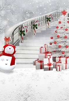 5x7ft White Christmas Photography Backdrop Red Scarf Snowman and Christmas Tree Gift stairs Photo Backgrounds for Photographer CC2130