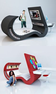 Futuristic Bed. I can't decide if this is the best thing ever, or if I would never get any sleep in it because it has so much stuff in it!