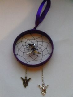 Hand Crafted Purple Gemstone Dream-Catcher With Silver Bronze Angle Wings Fairy Charms Gothic  Fantasy Style