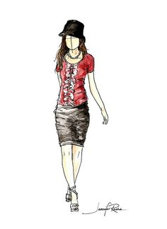 Model Sketch: Fashion sketch with beautiful shading.