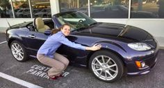 """Our lovely Courtney Fincher shows off her #CarLove for her hot 2012 Mazda MX-5 convertible! """"I'm in love with my Miata. All other cars are like sitting in a waiting room compared to this peppy roadster. If you haven't driven one, you need to. It's spirited driving at its finest!"""" #Mazda #Miata #CarLoveAffair"""