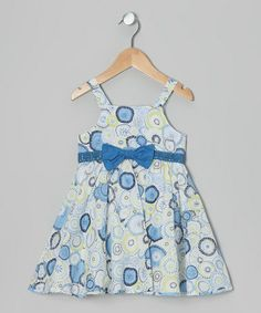 Another great find on #zulily! Blue & White Floral Circle Dress - Toddler & Girls #zulilyfinds