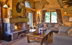 Photo wallpaper style, room, interior, country house, fireplace, design