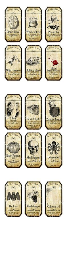 15 Large Halloween Apothecary Labels 4.5 x 2.23 by VectoriaDesigns                                                                                                                                                                                 More