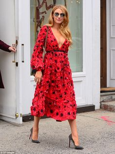 Blake Lively is ravishing as a rose in low-cut red petal dress while stepping out in NYC  | Daily Mail Online