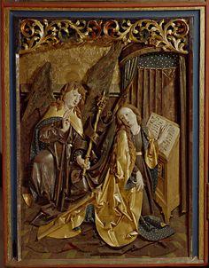 Abb. 38: Verkündigung an Maria, Flügelrelief (links unten) des Retabels, Marienkirche in Borna