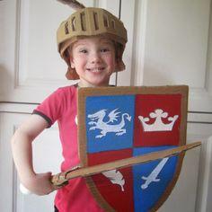 Cardboard Knight helmet, shield and sword.