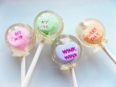 Conversation heart  lollipops by Vintage by VCLicketySplit on Etsy, $11.50