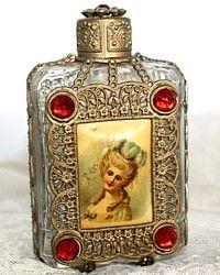 Antique Gilt Filigree Jeweled French Celluloid Perfume Bottle-