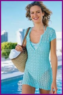 Crochet beach cover up crochet crochet crochet pinterest blue azure short sleeve top coverup free crochet graph pattern many apparel patterns here dt1010fo