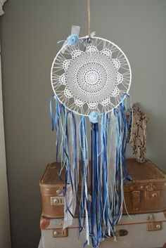A vintage lace doily dream catcher in Blue and White by SierGoed