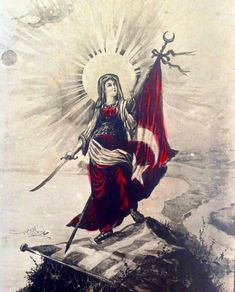 🇹🇷 Turkish propaganda postcard from the Greco-Turkish War showing a personification of the Turkish nation standing on the Greek flag. Turkish War Of Independence, Independence War, Greek Flag, Republic Of Turkey, Research Images, Art Vintage, National Archives, National Flag, Decoration