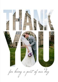 Go big and bold with these wedding thank you cards from Mixbook.
