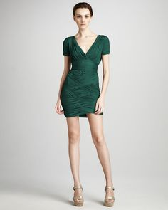 Ruched Woven Dress - Lyst