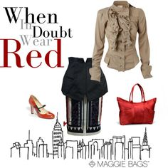 """""""Wear Red"""" by #maggiebags on #Polyvore"""