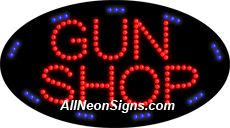 """Animated Gun Shop LED Sign-ANSAR24219  15""""x27""""x1""""  Animated  8lbs  Indoor use only  Low energy cost: Uses ONLY 10 Watts of power  Expected to last at least 100,000 hrs  Cool and safe to touch, low voltage operation  High visibility, even in daylight  Easy to clean, Easy to install, Slim & Light Weight  Maintenance FREE  1 YEAR Warranty."""