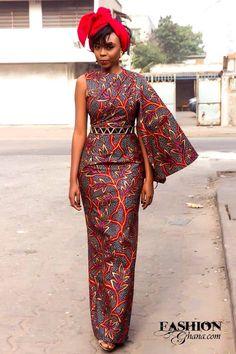"""""""One-sided"""":Dress ~ African fashion, Ankara, kitenge, Kente, African prints, Braids, Asoebi, Gele, Nigerian wedding, Ghanaian fashion, African wedding ~DKK"""