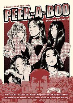 red velvet peek a boo palette Bts Poster, Kpop Posters, Poster Design, Kpop Fanart, Peek A Boos, Aesthetic Art, Wall Collage, Red Velvet, Grunge