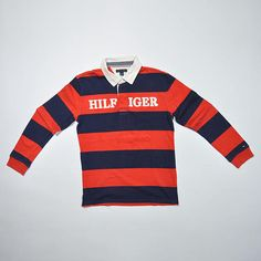 7f9643682e Rare Vintage 80s 90s Tommy Hilfiger Long Sleeve Polo Shirt   Tommy Hilfiger  Large 12-14 or Fit Small Adult
