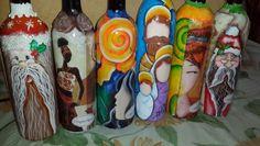 Botellas decoradas pintura sobre botellas