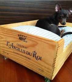 Wine Crate Cat bed Or Dog bed  Upcycled by RagsIIRiches on Etsy, $129.00