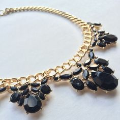 NEW! Black crystal necklace on gold link chain Beautiful and unique fashion jewelry crystal statement necklace. New piece. Great for gifts!  Length = 19 inches end to end. Adjustable lobster clasp.   10% discounts on bundles! Make offers through offer button only please! Any questions please ask.  Jewelry Necklaces