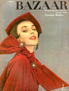 Dorian Leigh in red velvet dress by Christian Dior, costume jewelry by Dior Boutique, cover photo (Kodachrome) by Richard Avedon, December 1949