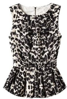 Mossimo® Women's Sleeveless Peplum Top -  Animal Print on shopstyle.com
