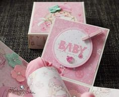 """ScrapBerry's My little star"""" on small exploding box 7cmx7cm by Anna Grzybowska."""