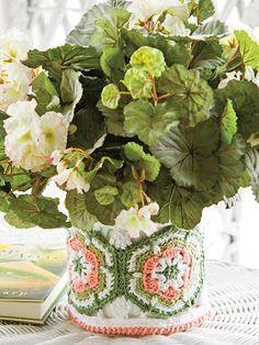 Flowerpot Cozy #freepattern #crochet #easy