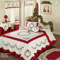Holly Wreath Quilted Oversized Holiday Bedspread ZThe Holly Wreath Holiday Bedding will make any bedroom look fabulously festive. The cotton/polyester Grande Oversized Bedspread features embroidered holly wreaths and garlands in red and green on a ve Cozy Christmas, Country Christmas, All Things Christmas, Christmas Holidays, Christmas Bedding, Christmas Interiors, Holiday Wreaths, Holiday Decor, Christmas Getaways