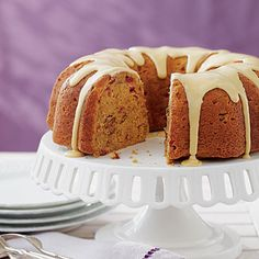 Maple-Glazed Pumpkin-Cranberry Coffee Cake Coastalliving.com