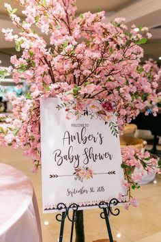 Cherry Blossom Welcome Sign from an Enchanted Garden Baby Shower on Kara's Party. - Cherry Blossom Welcome Sign from an Enchanted Garden Baby Shower on Kara's Party… - Deco Baby Shower, Fiesta Baby Shower, Baby Girl Shower Themes, Girl Baby Shower Decorations, Floral Baby Shower, Baby Shower Gender Reveal, Baby Shower Parties, Baby Girl Babyshower Ideas, Baby Shower Flowers