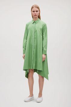 COS image 6 of Shirt dress with handkerchief hem in Khaki green