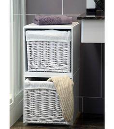 White Bathroom Storage Unit with Wicker Basket Drawers - Modular Cubes