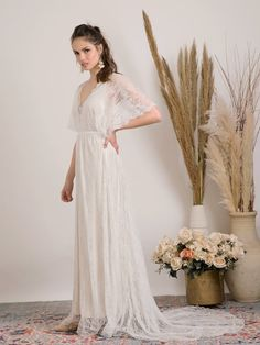 Earthy Wedding Dresses, Indie Wedding Dress, Second Wedding Dresses, Ivory Lace Wedding Dress, Wedding Dresses Photos, Wedding Dress Sleeves, Bridal Dresses, Wedding Dress Casual, Wedding Gowns