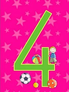 Fichas número 4. Happy Birthday Clip Art, Birthday Clips, Art Birthday, Numbers Preschool, Math Numbers, Letters And Numbers, Free Frames, Counting Activities, Picasa Web Albums