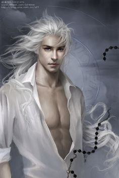 White-haired beauty, pixie