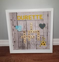 Surname Scrabble Tile Family Shadowbox Frames | Etsy Scrabble Letters, Scrabble Tiles, Surnames, Shadow Box, Color Schemes, Embellishments, Layout, Bows, It Is Finished