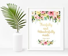 Psalm 139 Fearfully And Wonderfully Made Nursery Bible Baby Bible Quotes, Nursery Bible Verses, Psalm 139, Psalms, Baptism Gifts, Quote Prints, Poster Prints, Computer, Buy Prints