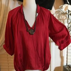BCBGENERATION RED BLOUSE Stunning brand new blouse , unique design , made of polyester and cotton BCBGeneration Tops Blouses