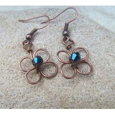 Copper Crystal Flower Earrings