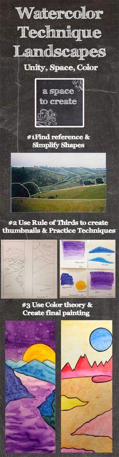 http://www.teacherspayteachers.com/Product/Watercolor-Technique-Landscape-1204479