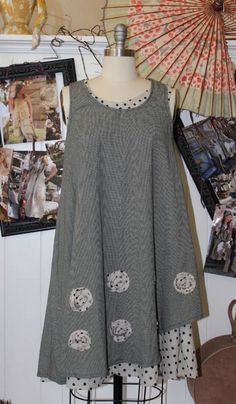 Gray Victorian Prarie Lagenlook Handkerchief Pinafore Blouse 263 mv Tunic S M L Boho Fashion, Fashion Outfits, Womens Fashion, Altered Couture, Creation Couture, Refashion, Boho Dress, Dress Patterns, Cool Outfits