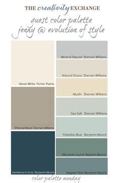 Sea Salt SW • Gray Owl BM • Grassland BM • Silvermist SW • Breezy SW • Natural Tan SW • Vale Mist BM • Inner Balance BM • Prescott Green BM...  Try these designer colors