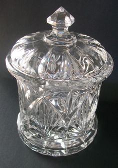 Vintage+Pressed+Clear+Glass+Candy+Dish+with+Lid+JUST+REDUCED!!!+